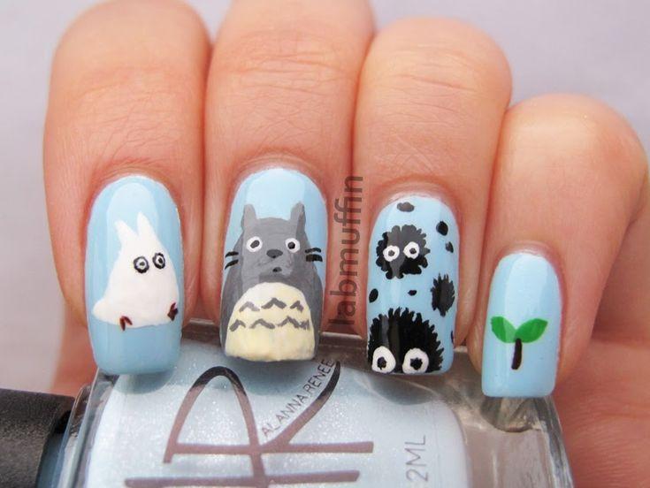 O M to the G I'm freaking out over how cute My Neighbor Totoro nails are!