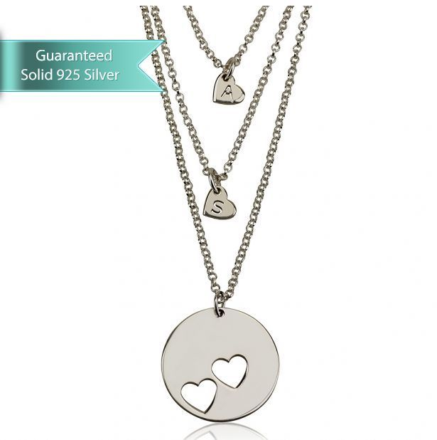 Sterling Silver/ 24 GP Engraved Mother Daughter Heart Necklace Set