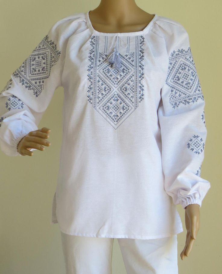 "Long Sleeve Ladies Embroidered Blouse ""White Elegance Enhanced"" stylishdiscoveries.com.au"