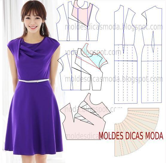 molde de vestido drapeado com desenho para facilitar a modelagem, corte e costura fácil.