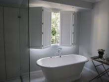 ooooh... love the shutters for the bathroom