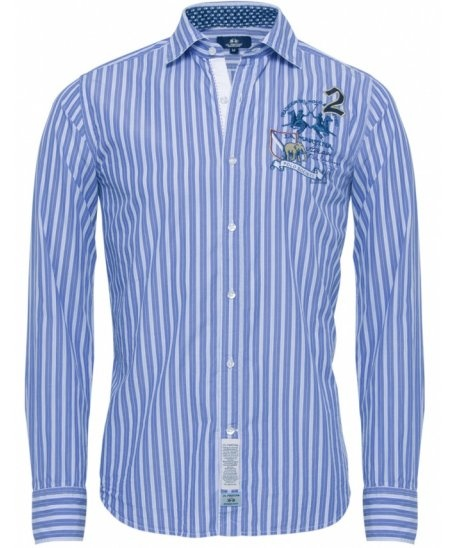 Men's striped shirt from Argentinian sportswear designers La Martina. Inspired by the game of polo, the shirt features signature embroidered logo to the chest, whilst remaining in a classic style with a casual cutaway collar and timeless striped pattern throughout. The La Martina shirt features rear darts for a modern slim fit when worn, whilst the quirky branded rear under collar offers a unique design led finish.