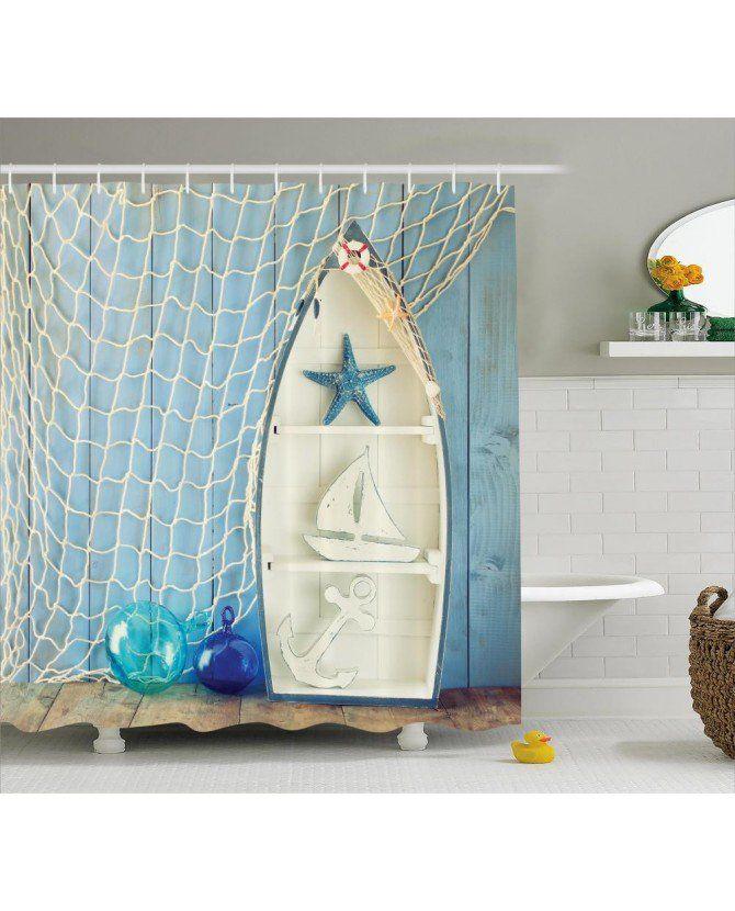 Nautical Shower Curtain Marine Icons Starfish Print For Bathroom ve diğer fon perde modelleriyle ücretsiz kargo ve uygun fiyata Orange Venue'da.