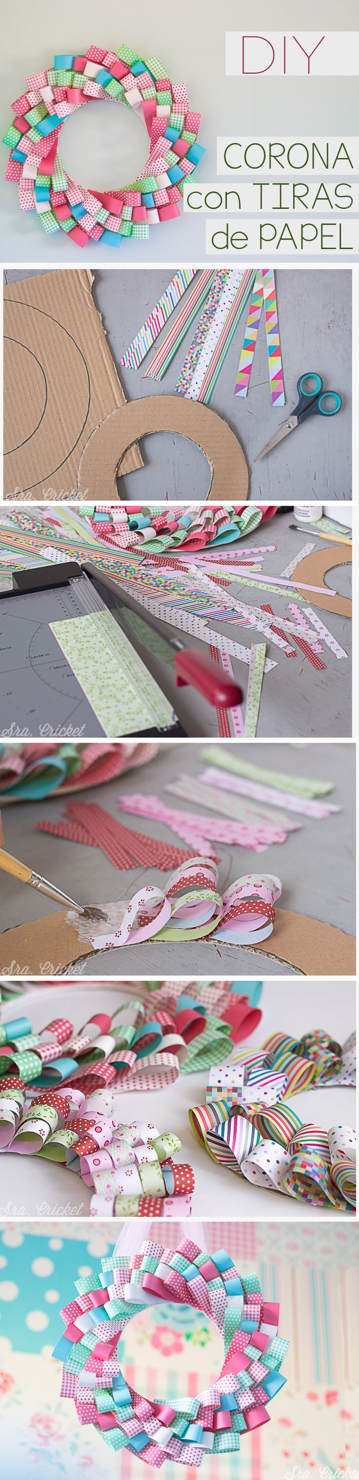 Corona de papel handame. Un tutorial DIY para hacer un corona con tiras de papel by sracricket.com                                                                                                                                                     Más