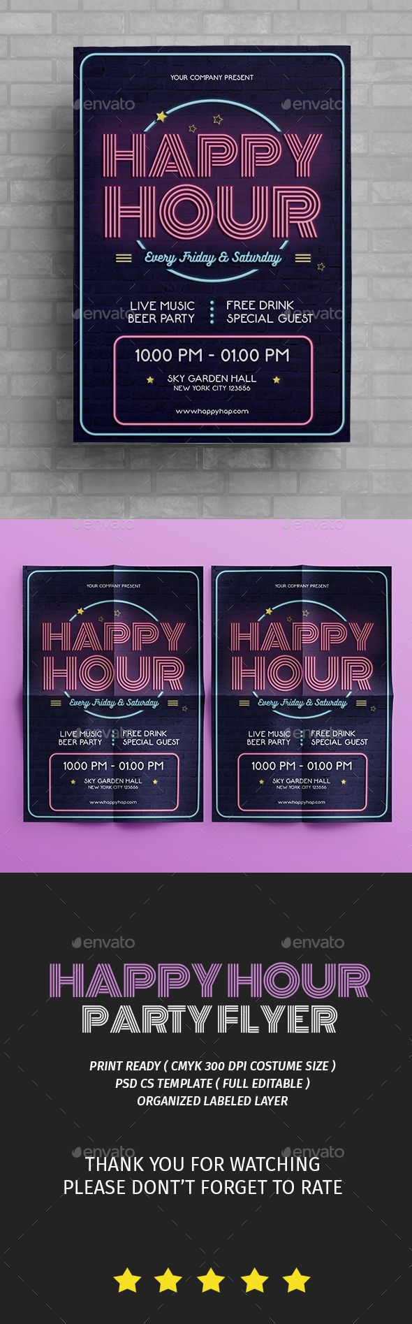 Happy Hour Flyer — Photoshop PSD #retro flyer #happy hour • Available here → https://graphicriver.net/item/happy-hour-flyer/16479868?ref=pxcr