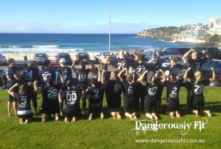 Week 11 : Toughest session so far, the harder it goes, the more you love it! crazy bunch of Dangerous Mudders! Brilliant effort last Saturday!  Strength on the grass with a full body Kettlebell workout, then in the water, out military crawls to the cone, soft sand run all the way down to south Bondi, back on the hard sand, give me 2 loops of this and back on the grass, 3 massive rounds mixing sand and grass in total! http://www.dangerouslyfit.com.au/
