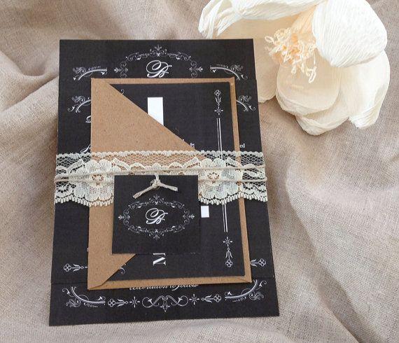 Rustic Lace Wedding invitation Chalkboard with monogram on Etsy, $4.21 AUD