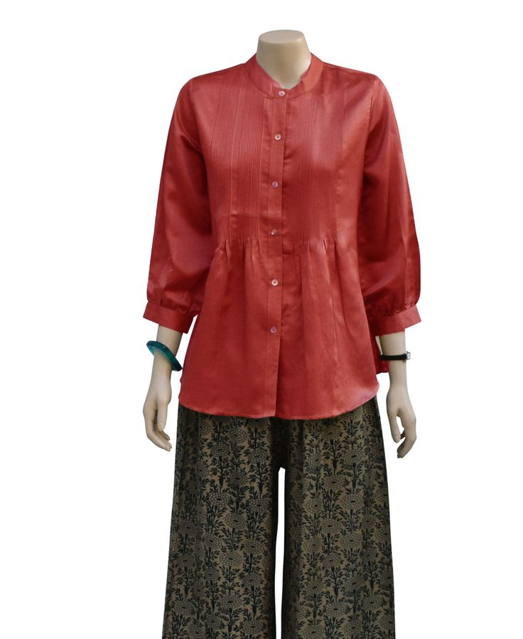 Dezinery - Pure Satin Silk Shirt - Coral, $180.00 (http://www.dezinery.com/pure-satin-silk-shirt-coral/)