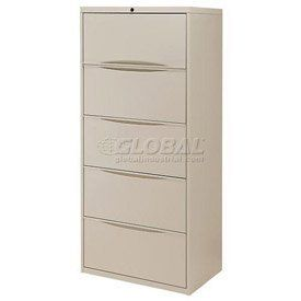 """30"""" Premium Lateral File Cabinet 5 Drawer Putty by Global Industrial. $486.95. PREMIUM LATERAL FILE 5 Drawer Cabinet Premium lateral file cabinets keep paperwork organized. Made using durable steel with a chip and scratch resistant powder coat finish. Drawers feature ball bearing slides for full drawer extension that allows complete access to documents. Drawers include depth adjustable hang rails and front-to-back bars. Each drawer has a 90 lb. weight capacity. Depth adjustable h..."""