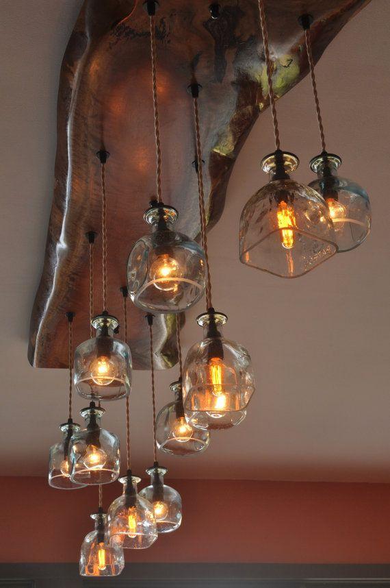 Big Sur Custom wood and glass chandelier di MoonshineLamp su Etsy