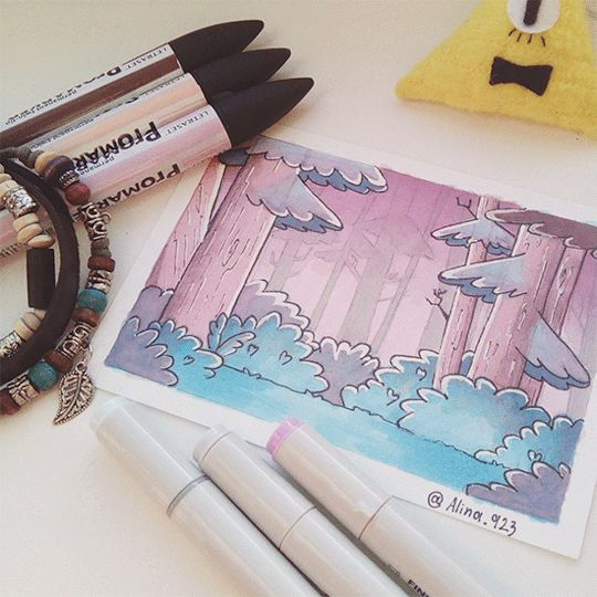 Gif bill cipher drawing markers plumones pink pastel forest gf gravity falls
