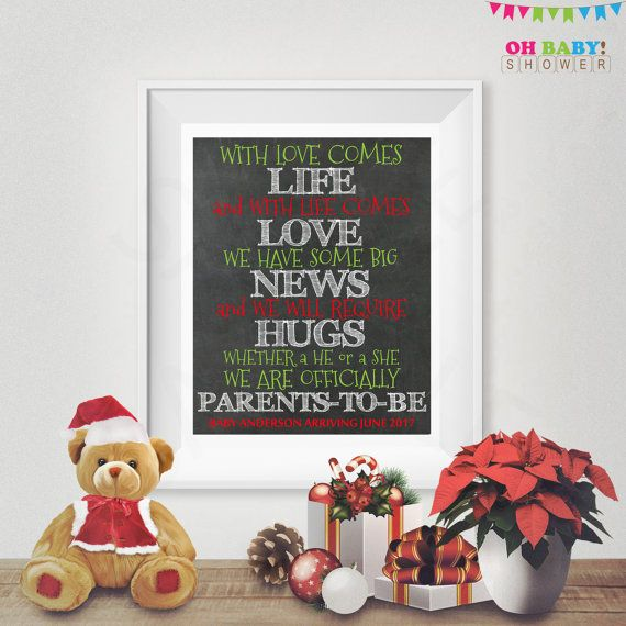 Christmas Baby Announcement Chalkboard Sign by OhBabyShower