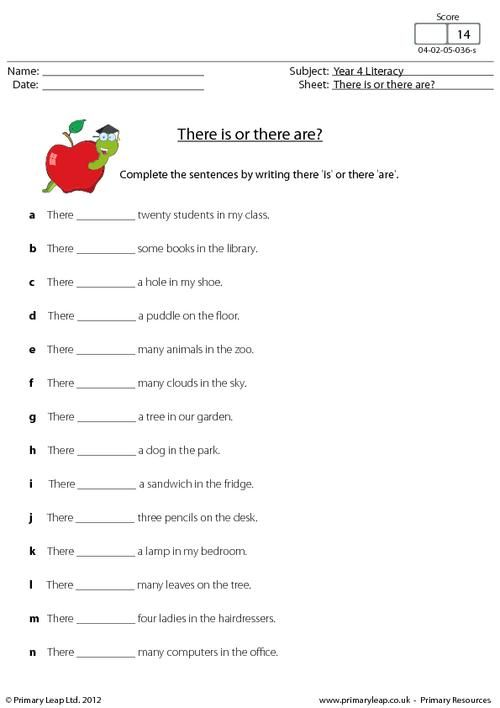 PrimaryLeap There Is Or There Are 1 Worksheet