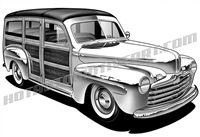 46 ford woody station wagon art 3 4 view dap of drawings for Station wagon coloring pages