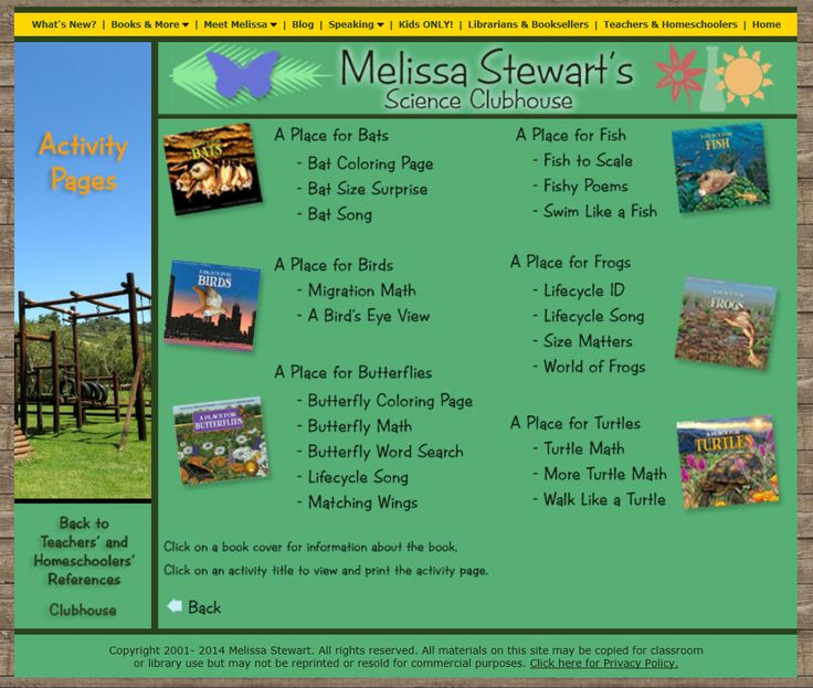 Activities to go with A Place for Butterflies and its companion titles: http://www.melissa-stewart.com/sciclubhouse/teachhome/activities2.html