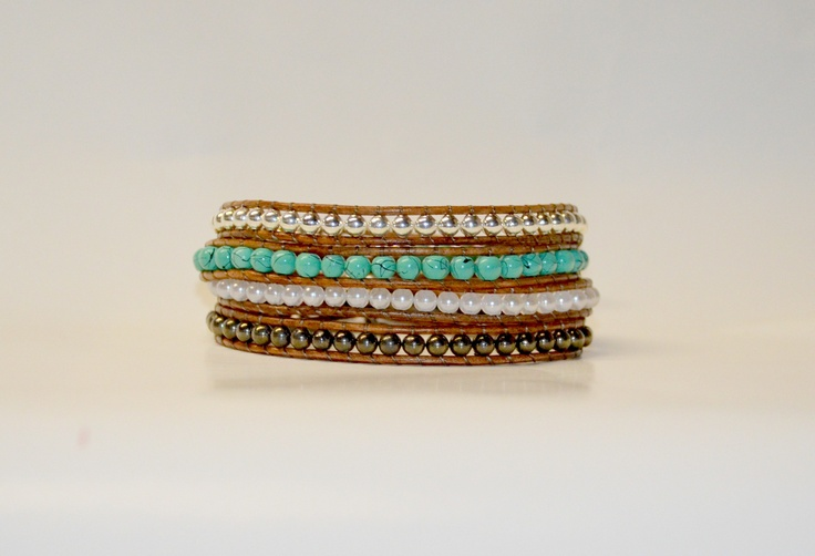 Turquoise, silver, pearl and bronze alternating multi-wrap bracelet