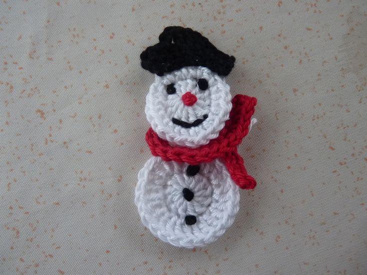 17 meilleures id es propos de appliqu s au crochet sur - Bonhomme de neige au crochet ...