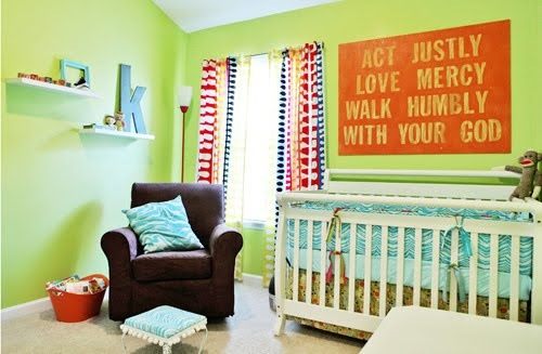 Love the verse above the crib: Wall Art, Signs, Idea, Boys Nurseries, Bright Color, Cribs, Baby Rooms, Bible Ver, Kids Rooms
