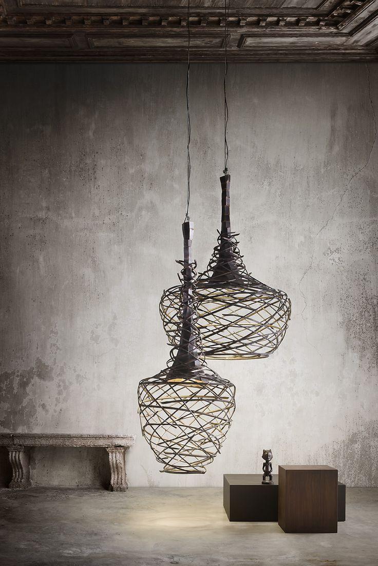 Gorgeous spun wire pendant lamps. ~ETS