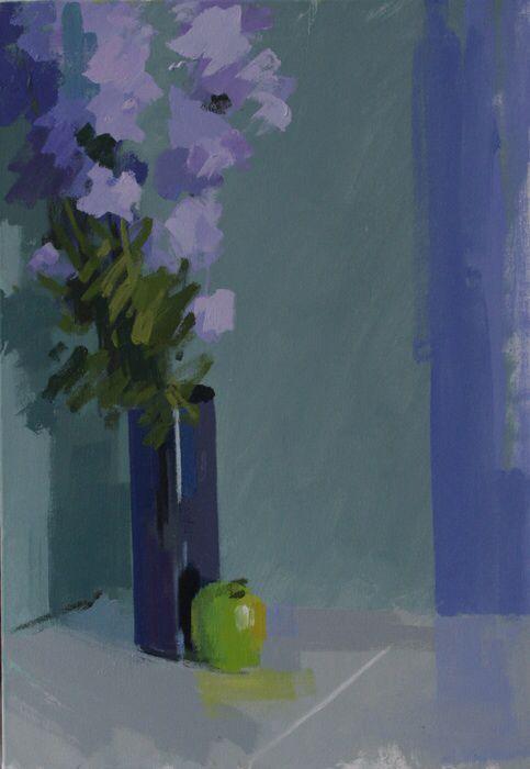 Apple & larkspur.  Oil on canvas 26 x 18 ins.  Philip Richardson