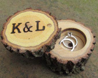 Caja de anillo del roble Caja del portador del por Trees2Art