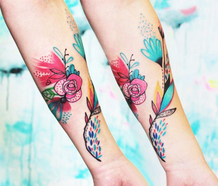 Abstract Flowers Tattoo by Bumpkin Tattoo | Tattoo No. 13334