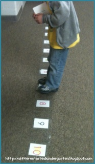 A Differentiated Kindergarten-stomping subtraction or addition on a floor number line...Can make into a game - Start on #1. Draw a card. These cards will give the player instructions (add # or subtract #). The student who reaches ten first is the winner.