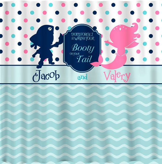 mermaid and pirate shower curtain pirate amp mermaid shared shower curtain pink navy 253
