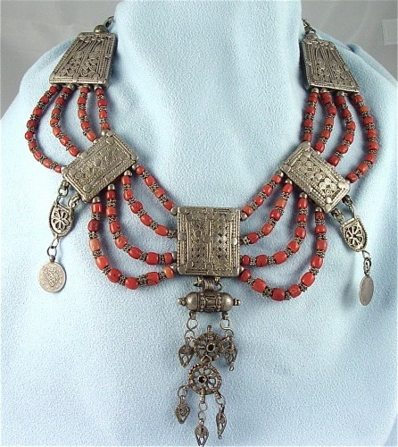 Yemen |  Antique Silver Bridal Dowry Necklace Amulet Coral Dated Coins.  Made in Yemen in the earlier part of the 1900s.