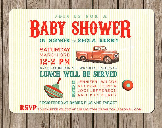 Vintage Toy Truck Baby Shower boy perfect by pinkcreativeinvites, $5.00