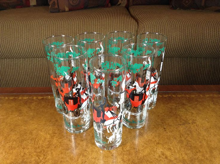 """Libbey Glass Company Zombie Glasses Tom Collins Glasses """"The Arrival"""" Set of 7 by AlbertsonMiller on Etsy"""