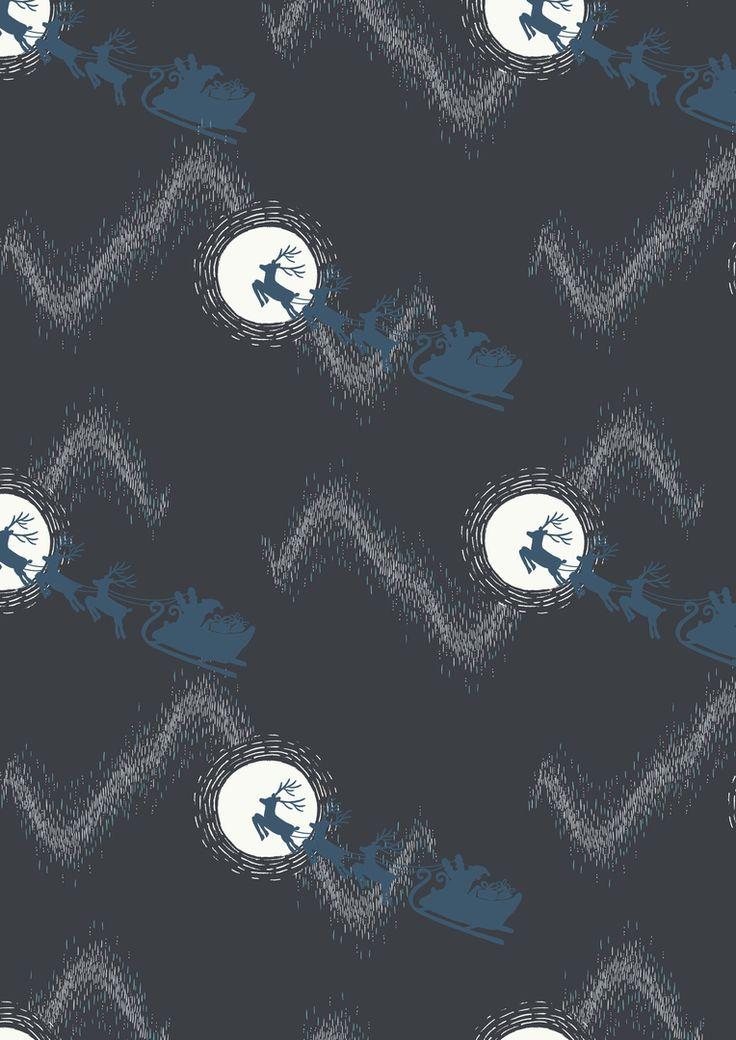 Lewis and Irene - Northern Lights - Santas sleigh on Midnight (METALIC) - 1/4m