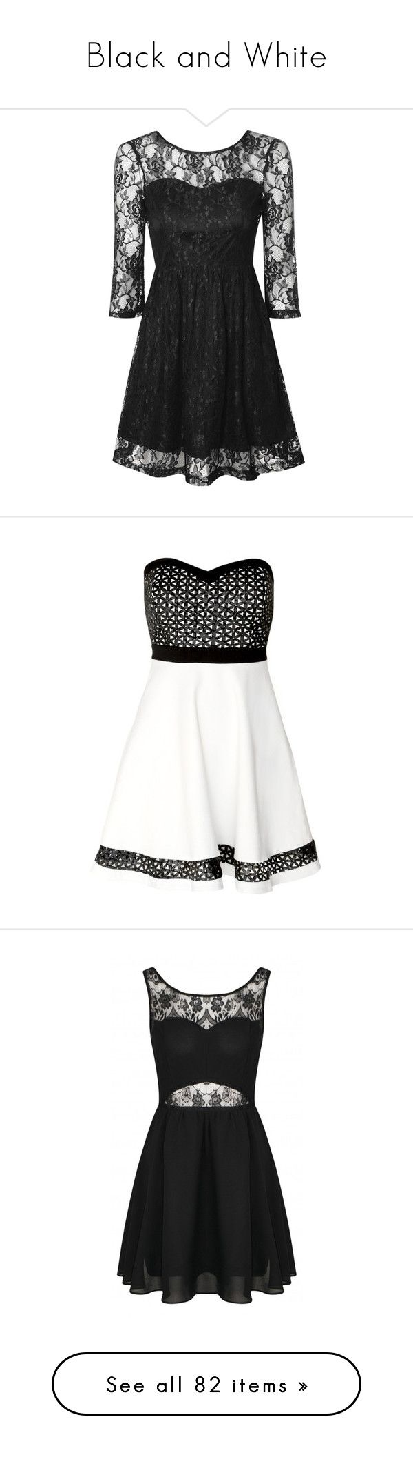 """Black and White"" by celine-cheong ❤ liked on Polyvore featuring dresses, short dresses, black, robes, 3/4 sleeve cocktail dress, long-sleeve skater dresses, lace skater dress, fit and flare cocktail dress, maxi dresses and white dress"
