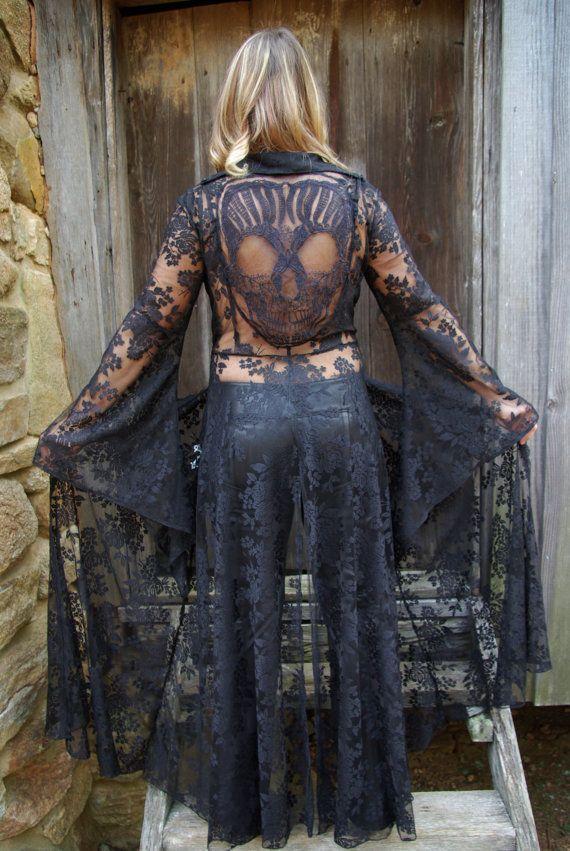 Made to Order****Black Lace Robe, Lingerie, Elegant Evening Coat, Dia de los Muertos, Skull, Day of the Dead,Black Robe