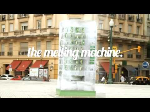 """7Up had a huge """"melting"""" vending machine-sized ice block carved, placing cans inside. As the day went on, members of the public were able to help themselves to one of the drinks."""