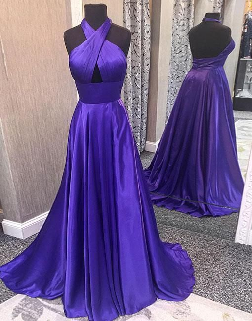 6b9eb4625924 Satin Tie-Halter Floor Length A-Line Formal Dress Featuring Cutout Front  and Open Back, Prom Dress PD20191874