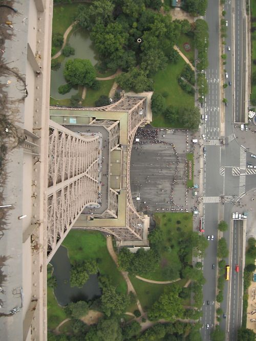 Looking down from the Eiffel Tower....