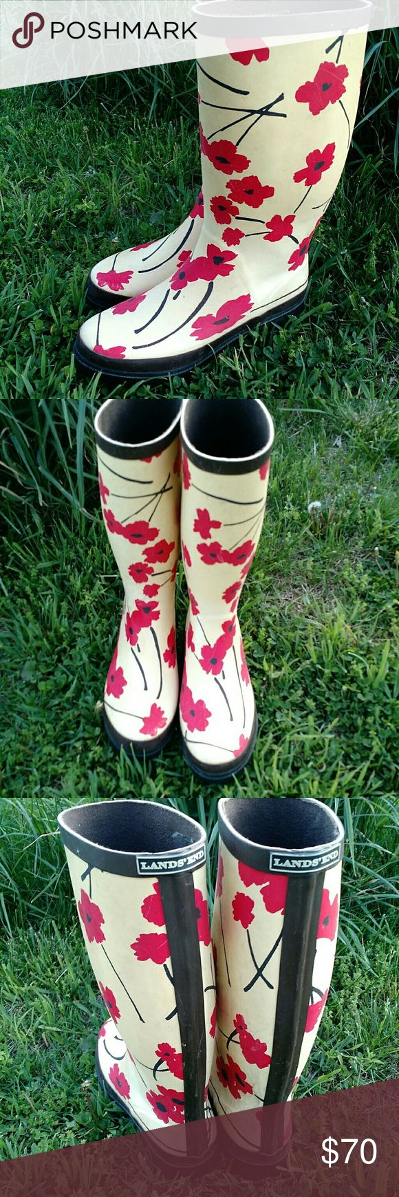 {Lands' End} Poppy Flower Wellies Sz 9 A rare find. These wellie-style rsin boots from Lands' End are super cute and very functional. Around town or in the back yard. Slight discoloration in spots of the cream color background (from age). Otherwise excellent condition. Lands' End Shoes Winter & Rain Boots