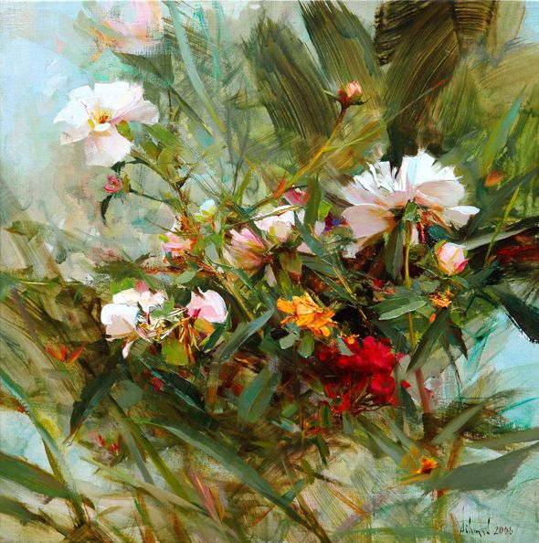 """Richard Schmid, """"North Garden Peonies"""" Oil 18″ x 18″"""