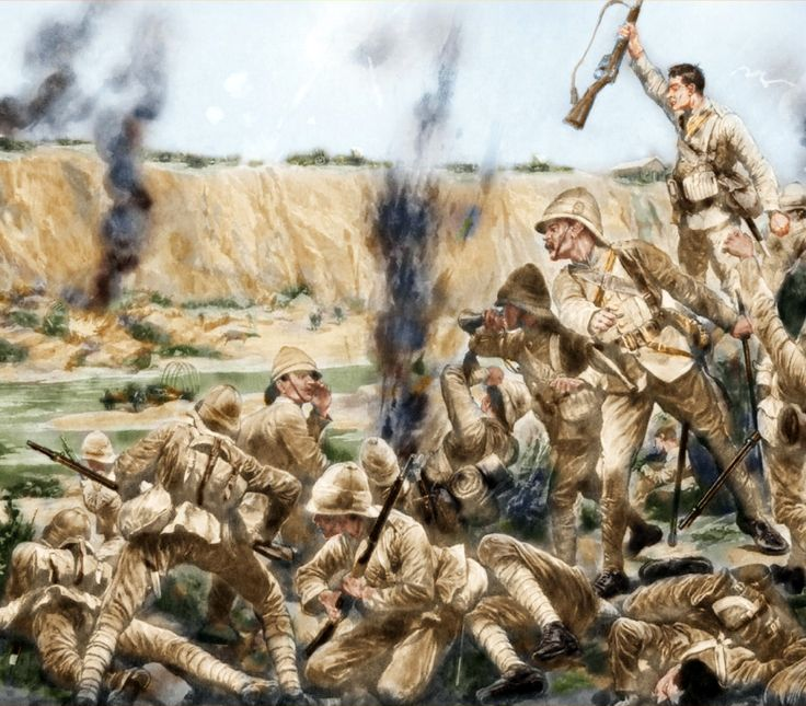 British forces under Boer bombardment during the Boer War