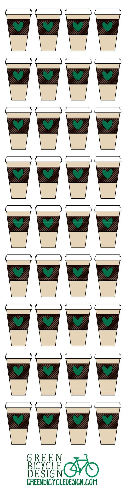Coffee date? Coffee club member? Lover of coffee? These stickers are perfect for all coffee occasions! This listing is for one sheet of 36 Starbucks-Style Coffee Cup Stickers. Stickers are kiss-cut an