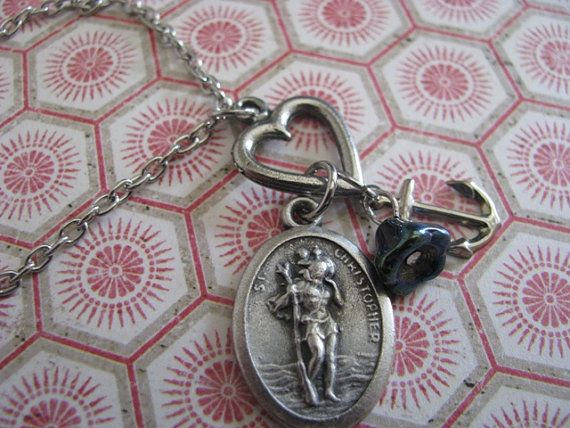Protect Me St. Christopher Navy/Coast Guard by bluesparrowtrinkets, $17.00