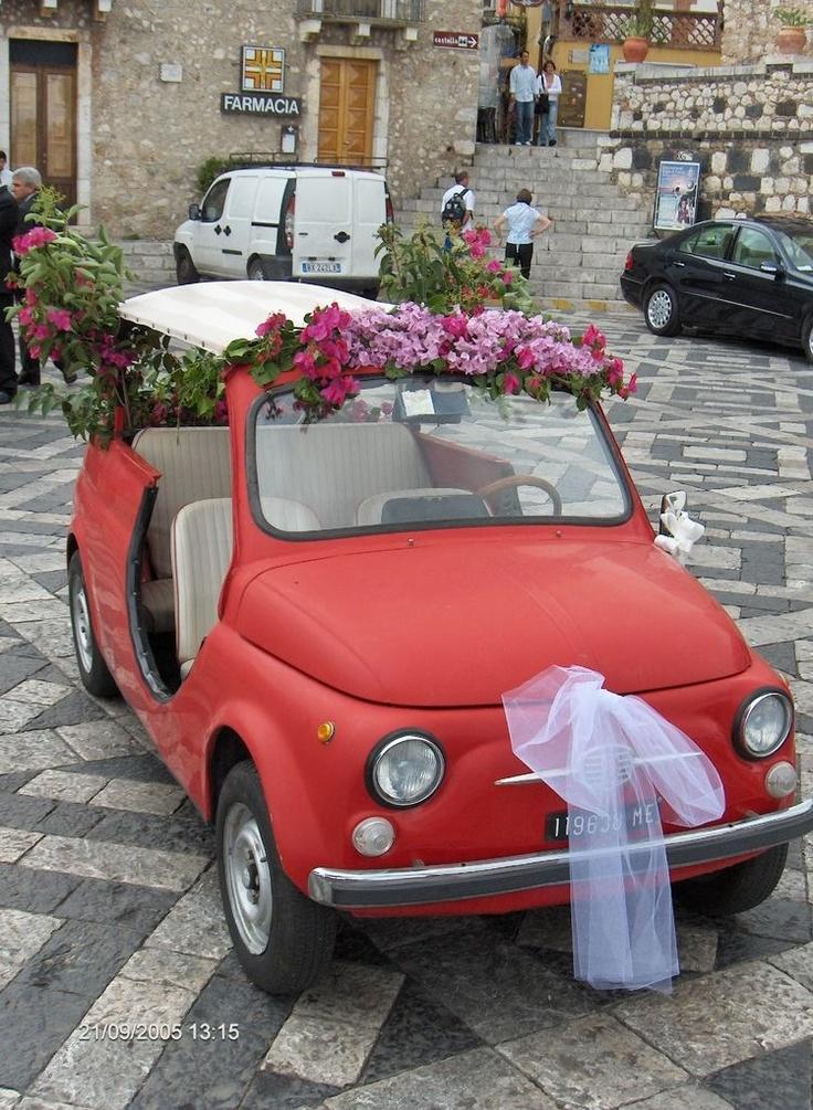 Cute little wedding car!