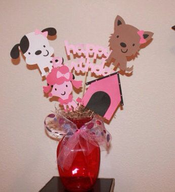 Set of 6 girly dog dalmatian terrier centerpiece with bows and bling happy birthday on Etsy, $11.49