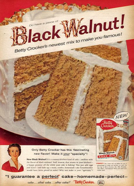 A discontinued Betty Crocker cake flavor, found in Family Circle, April 1958.
