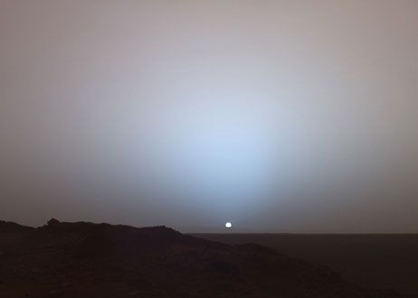 "With the Curiosity and Opportunity rovers making all the headlines these days, we can't forget the Spirit rover that provided a trove of scientific information and paved the way for Curiosity, before falling silent in March of 2010. Photo of sunset on Mars taken by NASA's Spirit rover in 2005. The promised warranty on the Spirit rover was 90 Martian days (or ""sols""). It ended up lasting more than 2,200 sols and gave a window into Mars' early and wet history."