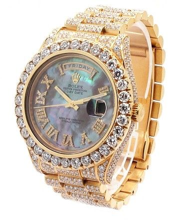 "Rolex ROLEX Day-date II Presidential 18K YG 30ct Custom Diamond ""Iced-out"" Mens Watch"
