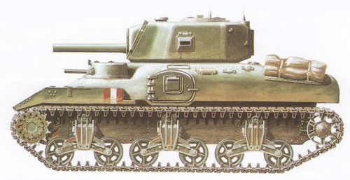 Left Side View of the M4A5 Medium Tank / Ram Mk.II Cruiser Tank early production version - auxiliary gun turret on Left Side of Hull and Side Doors.
