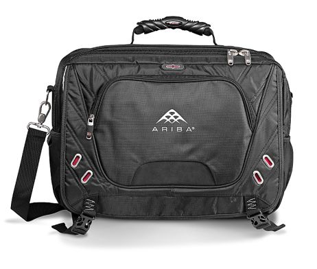This Elleven Compu Messenger has a main zippered compartment with file dividers, a front zippered compartment with a removable TechTrap, a media pocket with earphone outlet, a back zippered laptop compartment with separate zippered pockets, a laptop compartment which unfolds to lay flat on x-ray belt at airport security, a deluxe organizer under front flap, a back panel designed to slip over trolley handles, a padded and adjustable removable shoulder strap. This bag holds most 17″ laptops.