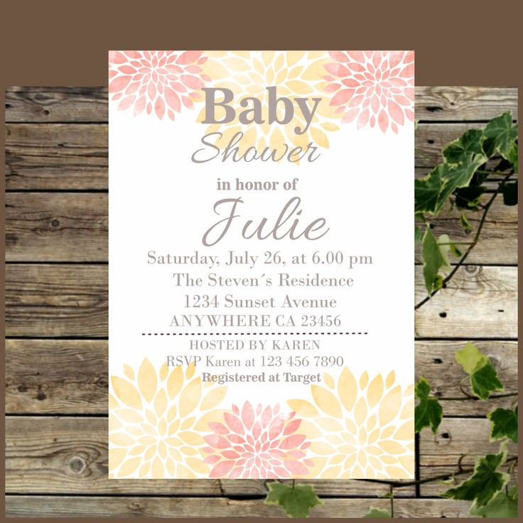 Baby Shower Invitation, Printable Floral Coral And Peach Baby Shower Rustic  Invite, Watercolor Flowers Baby Shower Invitation